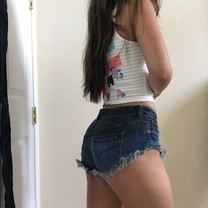 Bullhead Frayed Denim Shorts